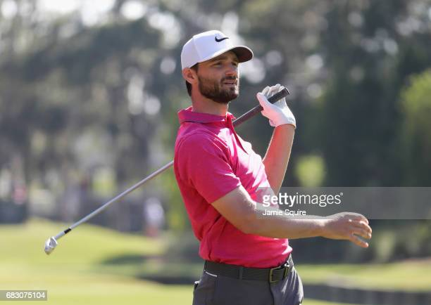Kevin Streelman of the United States plays a shot on the tenth hole during the final round of THE PLAYERS Championship at the Stadium course at TPC...