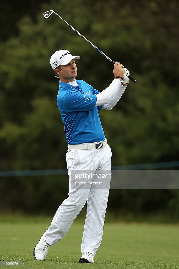 <a gi-track='captionPersonalityLinkClicked' href=/galleries/search?phrase=Kevin+Streelman&family=editorial&specificpeople=4687006 ng-click='$event.stopPropagation()'>Kevin Streelman</a> of the United States plays his second shot on the 10th hole during the Pro-Am ahead of the World Cup of Golf at Royal Melbourne Golf Course on November 20, 2013 in Melbourne, Australia.