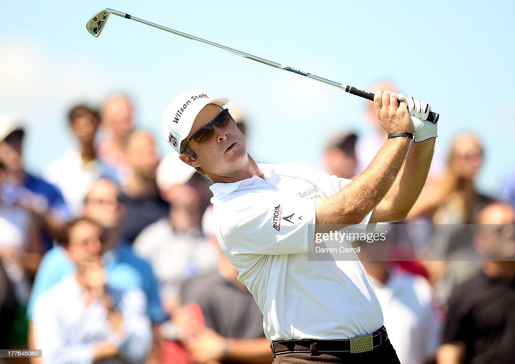 Kevin Streelman of the United States watches his tee shot on the second tee during the final round of The Barclays at Liberty National Golf Club on August 25, 2013 in Jersey City, New Jersey.