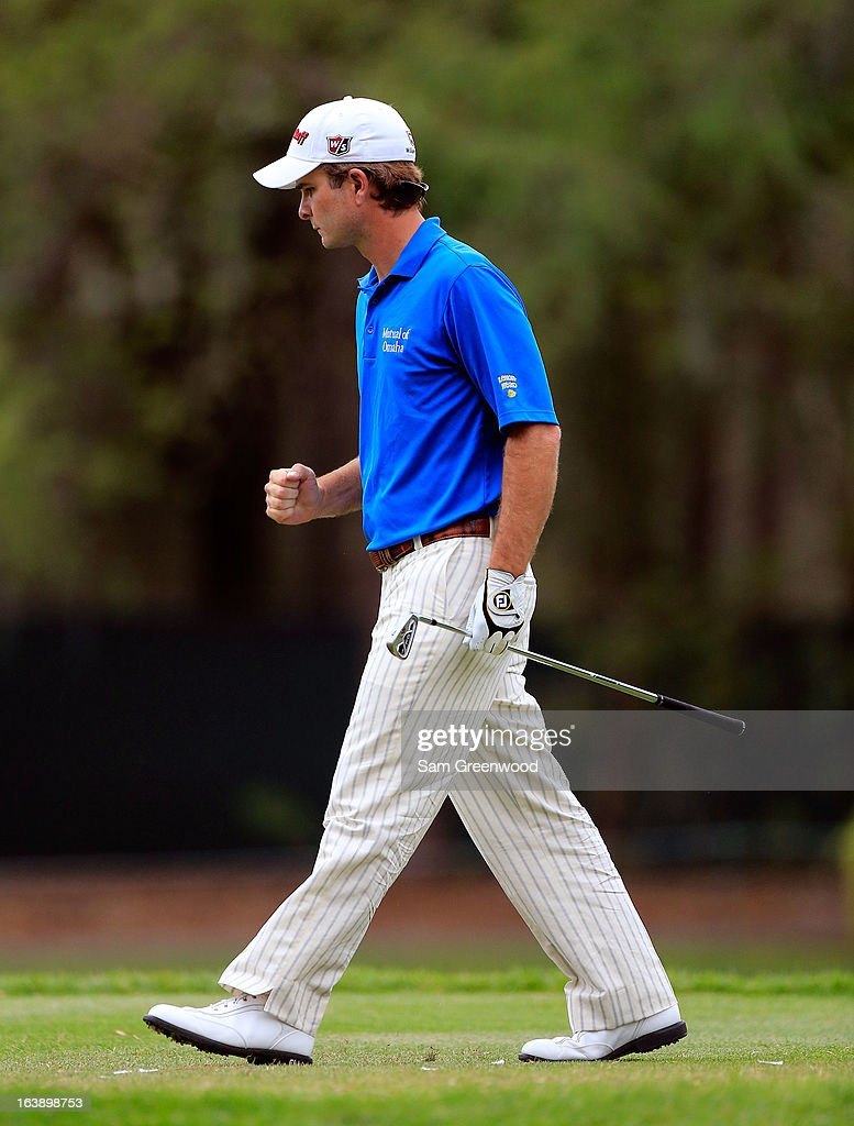 Kevin Streelman reacts to his tee shot on the 17th hole during the final round of the Tampa Bay Championship at the Innisbrook Resort and Golf Club on March 17, 2013 in Palm Harbor, Florida.