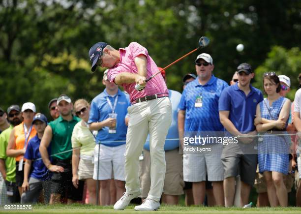 Kevin Streelman watches his tee shot on the first hole during the final round of the Memorial Tournament at Muirfield Village Golf Club on June 4...