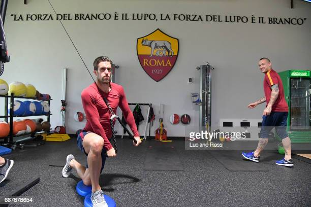 Kevin Strootman attends an AS Roma training session at Centro Sportivo Fulvio Bernardini on April 12 2017 in Rome Italy