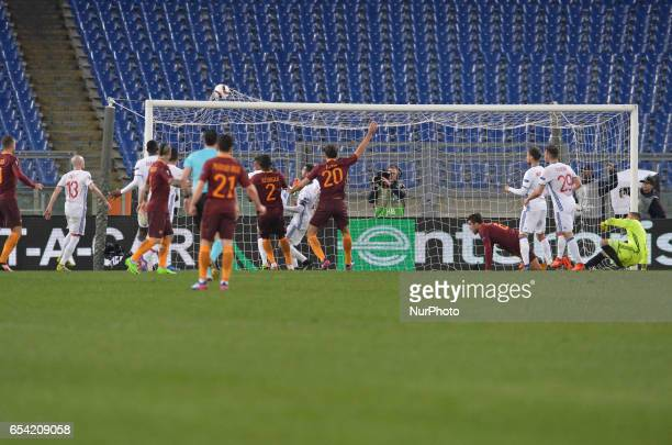 Kevin Strootman kicks goal 11 during the Europe League football match AS Roma vs Olympique Lyonnais at the Olympic Stadium in Rome on march 16 2017