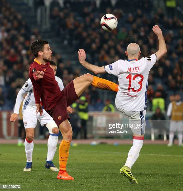 Kevin Strootman of AS Roma and Christophe Jallet of Lyon in action during the UEFA Europa League Round of 16 second leg match between AS Roma and...