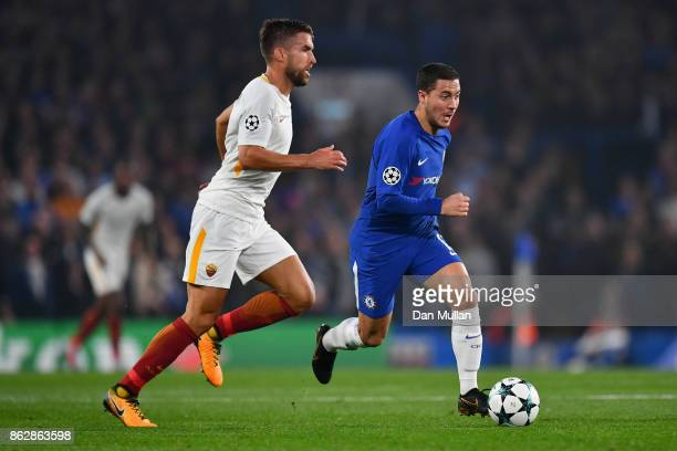 Kevin Strootman of AS Roma and Eden Hazard of Chelsea battle for posession during the UEFA Champions League group C match between Chelsea FC and AS...