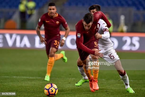 Kevin Strootman of AS Roma and Marco Benassi of Torino fight for the ball during the Serie A match between Roma and Torino at Stadio Olimpico Rome...