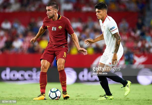 Kevin Strootman of AS Roma being followed by Joaquin Correa of Sevilla FC during a Pre Season Friendly match between Sevilla FC and AS Roma at...