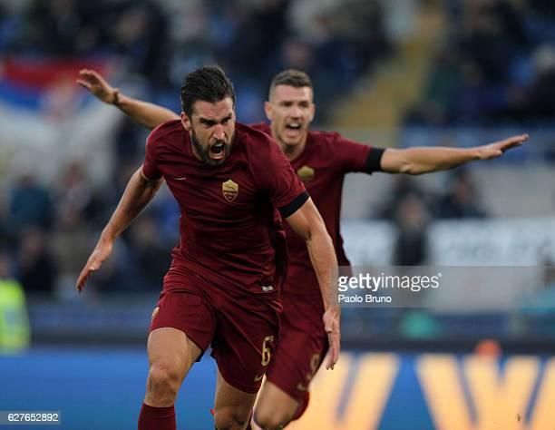 Kevin Strootman of AS Roma celebrates after scoring the opening goal during the Serie A match between SS Lazio and AS Roma at Stadio Olimpico on...