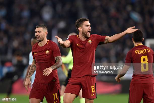 Kevin Strootman of AS Roma celebrates after winning the Italian Serie A soccer match between AS Roma and SS Lazio at the Stadio Olimpico in Rome...