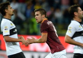 Kevin Strootman of AS Roma celebrates scoring the third goal during the Serie A match between Parma FC and AS Roma at Stadio Ennio Tardini on...