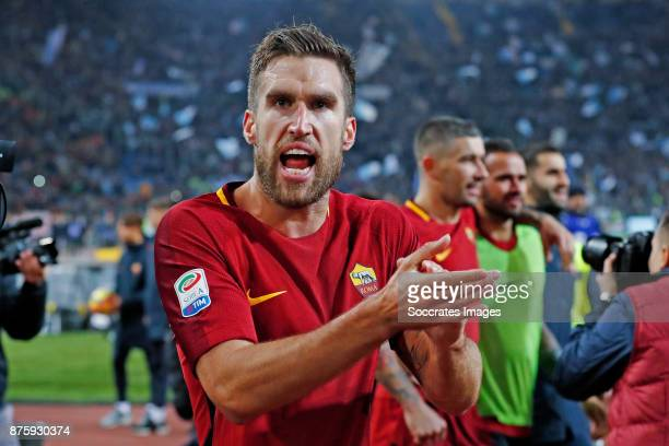 Kevin Strootman of AS Roma celebrates the victory during the Italian Serie A match between AS Roma v Lazio at the Stadio Olimpico on November 18 2017...