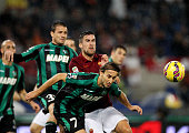 Kevin Strootman of AS Roma competes for the ball with Simone Missiroli of US Sassuolo Calcio during the Serie A match between AS Roma and US Sassuolo...