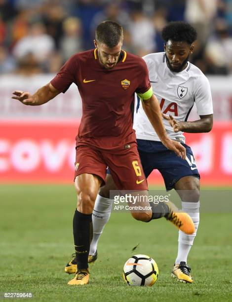 Kevin Strootman of AS Roma controls the ball against GeorgesKevin N'Koudou of Tottenham Hotspur during their International Champions Cup football...