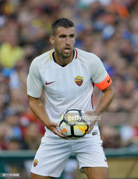 Kevin Strootman of AS Roma during the first half of a match against Paris SaintGermain at Comerica Park on July 19 2017 in Detroit Michigan