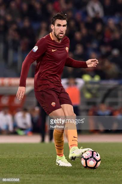 Kevin Strootman of AS Roma during the Italian Cup semifinal match between Roma and Lazio at Stadio Olimpico Rome Italy on 4 April 2017