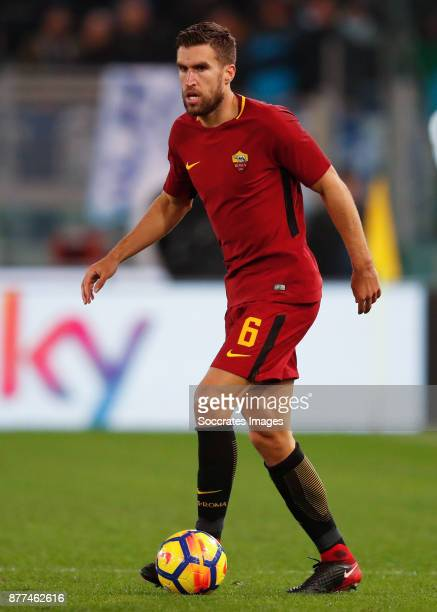 Kevin Strootman of AS Roma during the Italian Serie A match between AS Roma v Lazio at the Stadio Olimpico on November 18 2017 in Rome Italy