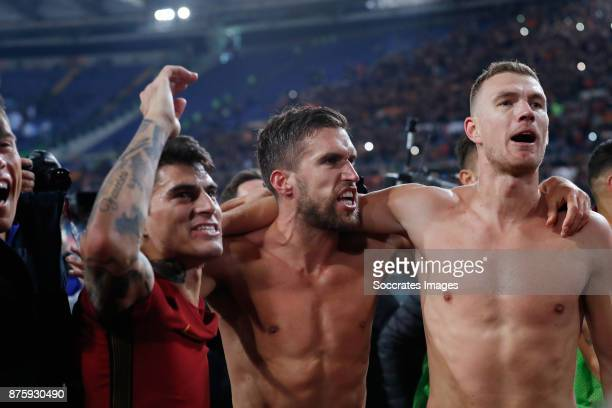 Kevin Strootman of AS Roma Edin Dzeko of AS Roma celebrates the victory during the Italian Serie A match between AS Roma v Lazio at the Stadio...
