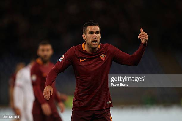 Kevin Strootman of AS Roma gestures during the Serie A match between AS Roma and Cagliari Calcio at Stadio Olimpico on January 22 2017 in Rome Italy