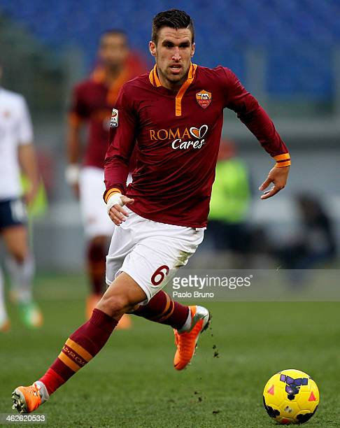 Kevin Strootman of AS Roma in action during the Serie A match between AS Roma and Genoa CFC at Stadio Olimpico on January 12 2014 in Rome Italy