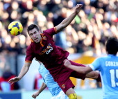 Kevin Strootman of AS Roma in action during the Serie A match between SS Lazio and AS Roma at Stadio Olimpico on February 9 2014 in Rome Italy
