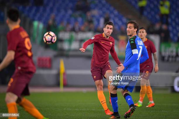 Kevin Strootman of AS Roma in action during the Serie A match between AS Roma and US Sassuolo at Stadio Olimpico on March 19 2017 in Rome Italy