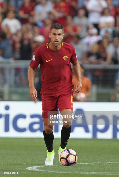 Kevin Strootman of AS Roma in action during the Serie A match between AS Roma and Genoa CFC at Stadio Olimpico on May 28 2017 in Rome Italy
