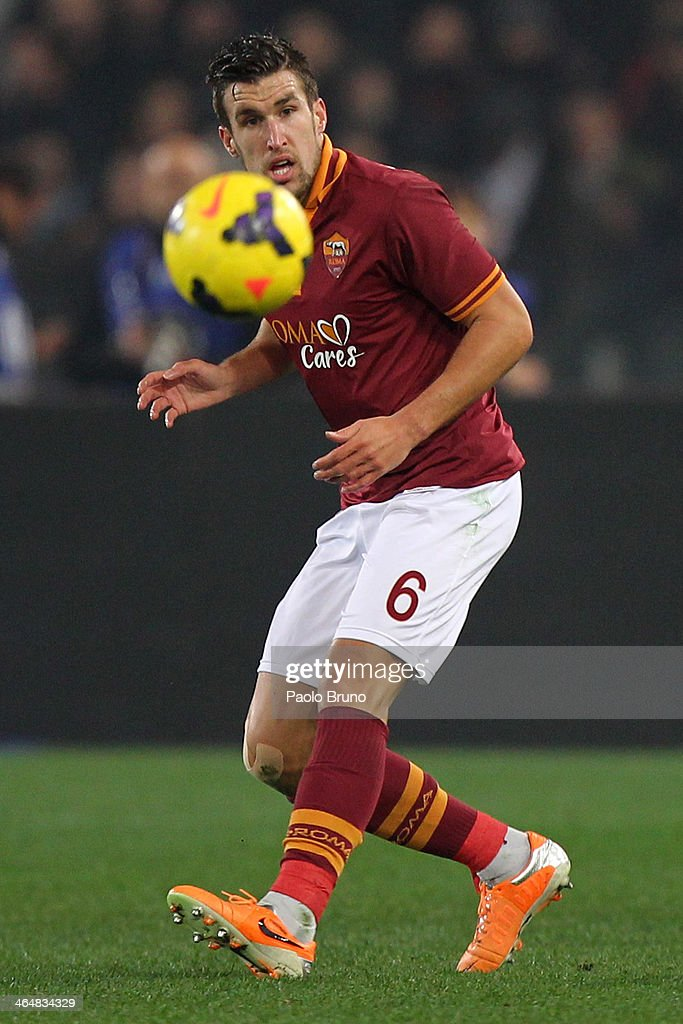 <a gi-track='captionPersonalityLinkClicked' href=/galleries/search?phrase=Kevin+Strootman&family=editorial&specificpeople=5566501 ng-click='$event.stopPropagation()'>Kevin Strootman</a> of AS Roma in action during the TIM Cup match between AS Roma and Juventus FC at Olimpico Stadium on January 21, 2014 in Rome, Italy.