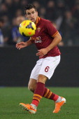 Kevin Strootman of AS Roma in action during the TIM Cup match between AS Roma and Juventus FC at Olimpico Stadium on January 21 2014 in Rome Italy