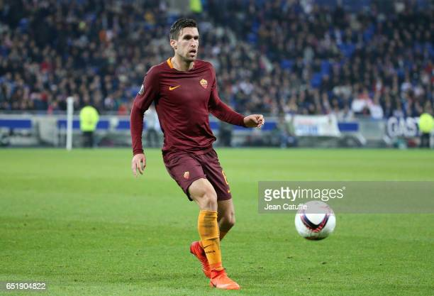 Kevin Strootman of AS Roma in action during the UEFA Europa League Round of 16 first leg match between Olympique Lyonnais and AS Roma at Parc OL on...