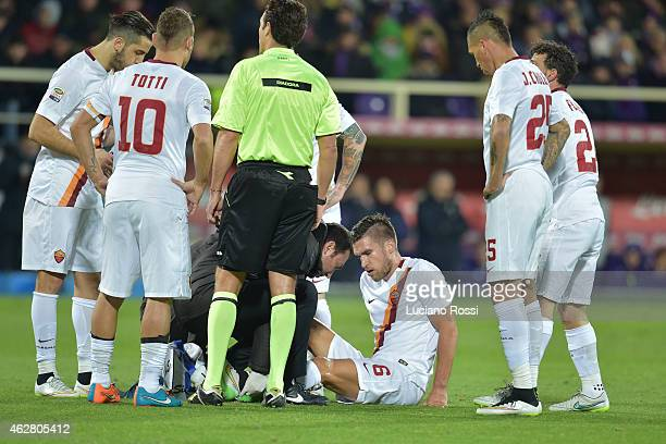 Kevin Strootman of AS Roma lies injured during the Serie A match between ACF Fiorentina and AS Roma at Stadio Artemio Franchi on January 25 2015 in...