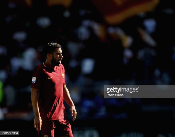 Kevin Strootman of AS Roma looks on during the Serie A match between AS Roma and Udinese Calcio at Stadio Olimpico on September 23 2017 in Rome Italy