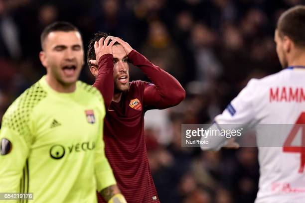 Kevin Strootman of AS Roma rues a missed chance during the UEFA Europa League match between Roma and Olympique Lyonnais at Stadio Olimpico Rome Italy...