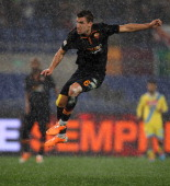 Kevin Strootman of AS Roma scores the second team's goal during the TIM Cup match between AS Roma and SSC Napoli at Olimpico Stadium on February 5...