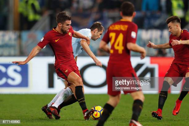 Kevin Strootman of AS Roma Senad Lulic of Lazio during the Italian Serie A match between AS Roma v Lazio at the Stadio Olimpico on November 18 2017...
