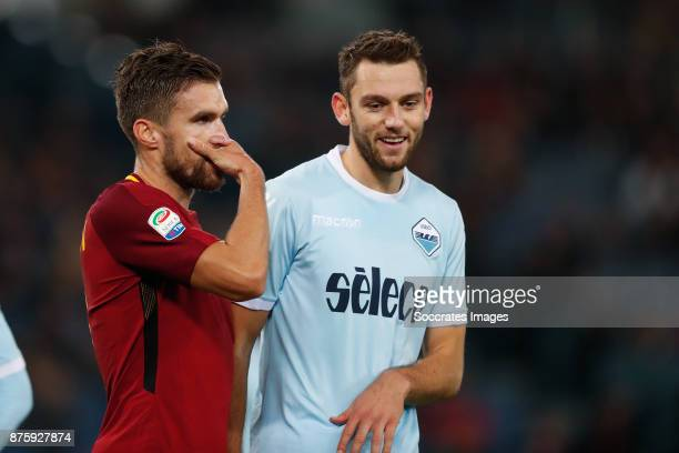 Kevin Strootman of AS Roma Stefan de Vrij of Lazio during the Italian Serie A match between AS Roma v Lazio at the Stadio Olimpico on November 18...
