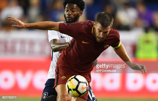 Kevin Strootman of AS Roma tries to control the bhall before GeorgesKevin Nkoudou of Tottenham Hotspur during the International Champions Cup...