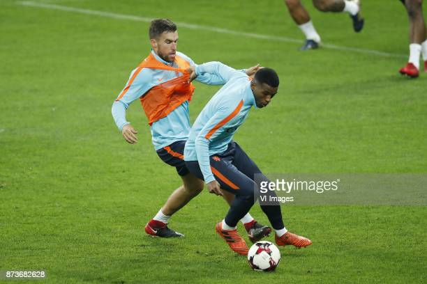 Kevin Strootman of Holland Georginio Wijnaldum of Holland during a training session prior to the friendly match between Romania and The Netherlands...