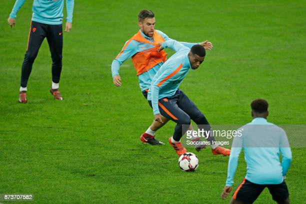 Kevin Strootman of Holland Georginio Wijnaldum of Holland during the match between Training Holland in Bucharest at the Arena Nationala on November...