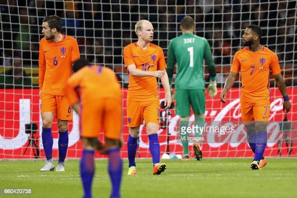 Kevin Strootman of Holland Memphis Depay of Holland Davy Klaassen of Holland goalkeeper Jeroen Zoet of Holland Jeremain Lens of Hollandduring the...