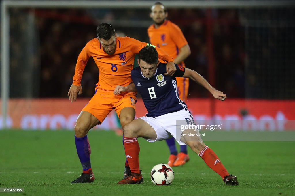 Kevin Strootman of Netherlands vies with John McGinn of Scotland during the International Friendly between Scotland and Netherlands at Pittodrie Stadium on November 9, 2017 in Aberdeen, Scotland.