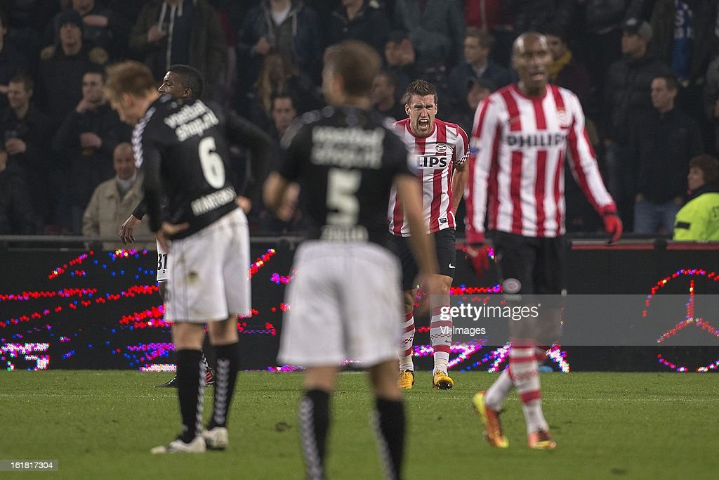 Kevin Strootman of PSV, Atiba Hutchinson of PSV, Dries Mertens of PSV during the Dutch Eredivisie match between PSV Eindhoven and FC Utrecht at the Philips Stadium on february 16, 2013 in Eindhoven, The Netherlands