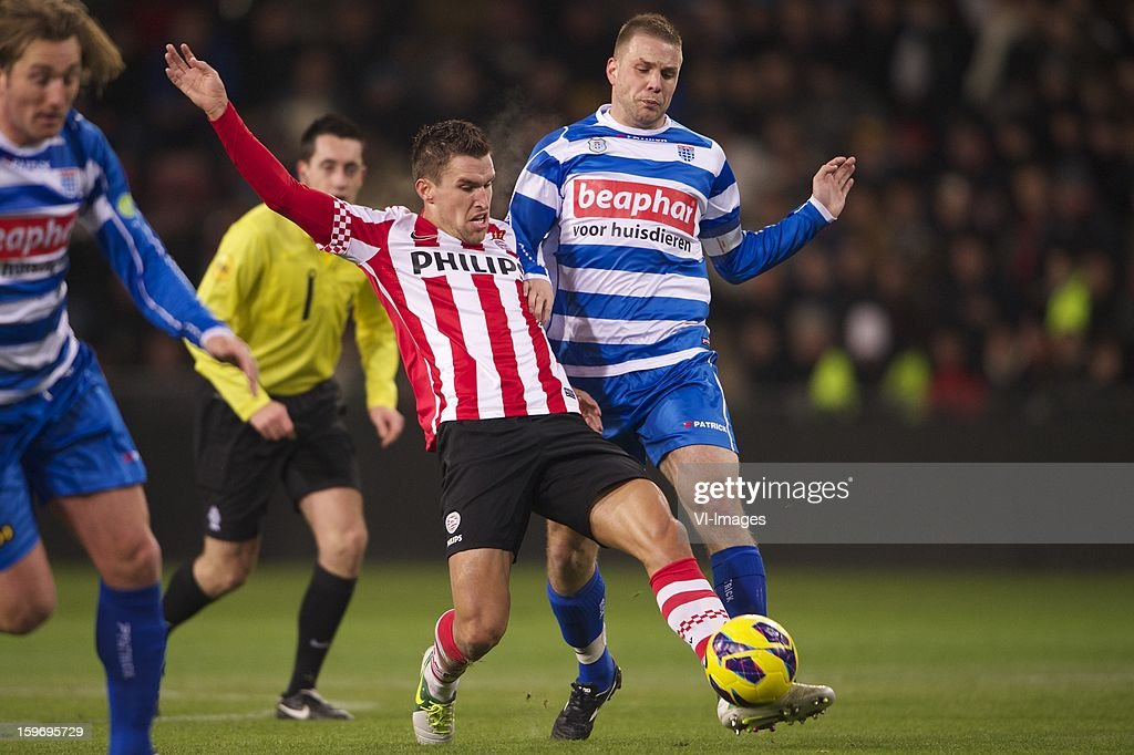 Kevin Strootman of PSV, Joey van den Berg of PEC Zwolle during the Dutch Eredivise match between PSV and PEC Zwolle at the Philips Stadium on January 18, 2013 in Eindhoven, The Netherlands.