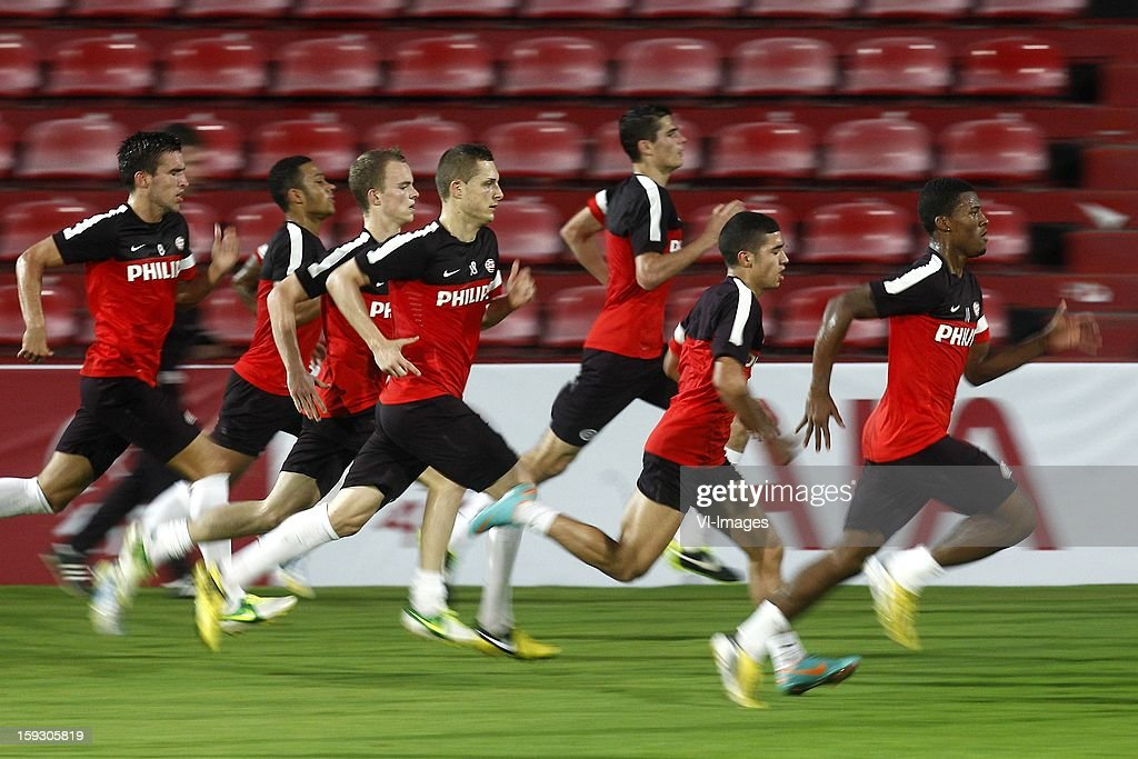 , Kevin Strootman of PSV, Memphis Depay of PSV, Jorrit Hendrix of PSV, Timothy Derijck of PSV, Menno Koch of PSV, Zakaria Bakkali of PSV, Georginio Wijnaldum of PSV during the training camp of PSV Eindhoven on January 10, 2013 at Muanghtongh, Thailand.