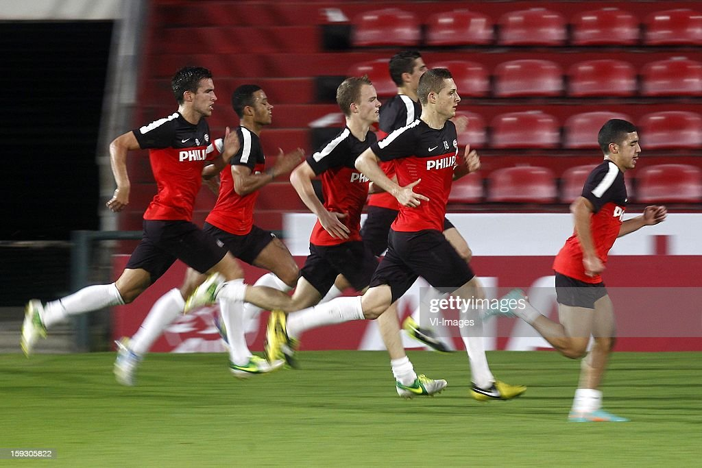 , Kevin Strootman of PSV, Memphis Depay of PSV, Jorrit Hendrix of PSV, Timothy Derijck of PSV, Menno Koch of PSV, Zakaria Bakkali of PSV during the training camp of PSV Eindhoven on January 10, 2013 at Muanghtongh, Thailand.