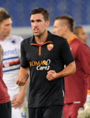 Kevin Strootman of Roma celebrates the victory after the TIM Cup match between AS Roma and UC Sampdoria at Olimpico Stadium on January 9 2014 in Rome...