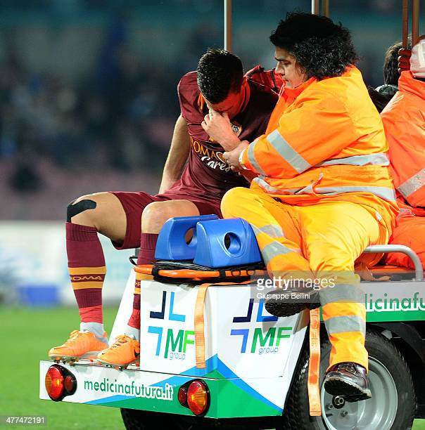 Kevin Strootman of Roma goes off injured during the Serie A match between SSC Napoli and AS Roma at Stadio San Paolo on March 9 2014 in Naples Italy