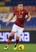 Kevin Strootman of Roma in action during the Serie A match AS Roma and Cagliari Calcio at Stadio Olimpico on November 25 2013 in Rome Italy