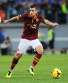 Kevin Strootman of Roma in action during the Serie A match between AS Roma and US Sassuolo Calcio at Stadio Olimpico on November 10 2013 in Rome Italy