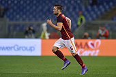 Kevin Strootman of Roma in action during the Serie A match between AS Roma and US Citta di Palermo at Stadio Olimpico on February 21 2016 in Rome...