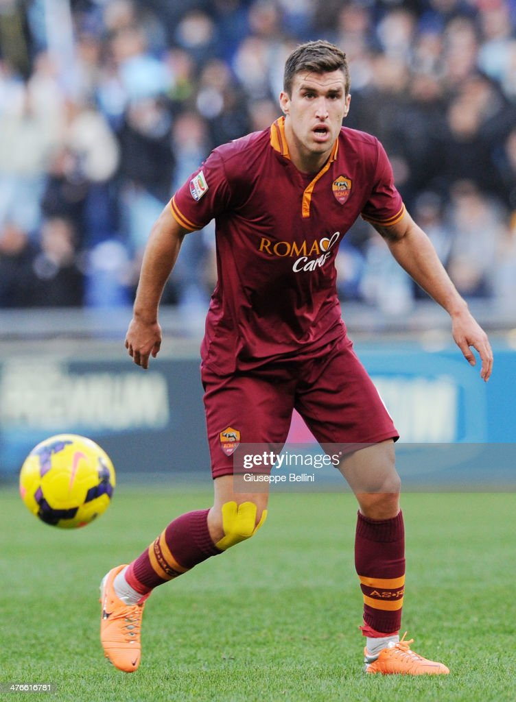 Kevin Strootman of Roma in action during the Serie A match between SS Lazio and AS Roma at Stadio Olimpico on February 9, 2014 in Rome, Italy.
